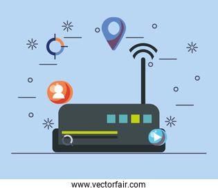 route with wifi connection signal