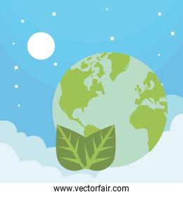 world planet earth with leafs plant