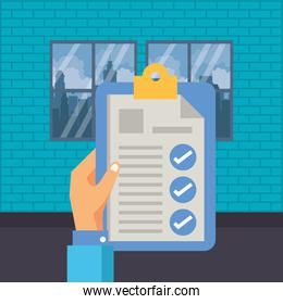 hand lifting checklist clipboard document isolated icon