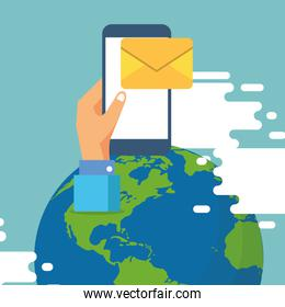 smartphone with envelope email send and world planet