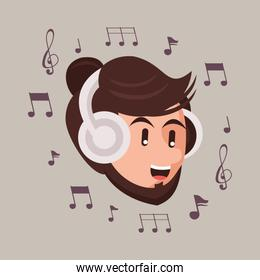 man with earphones audio device and music notes