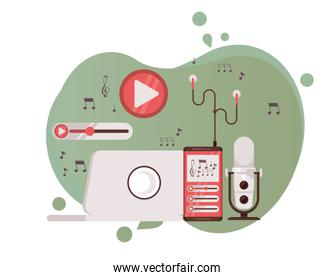 microphone retro with laptop and radio icons