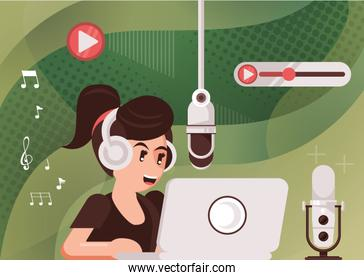 female announcer with radio microphone and earphones