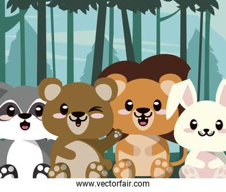 cute animals group in landscape scene