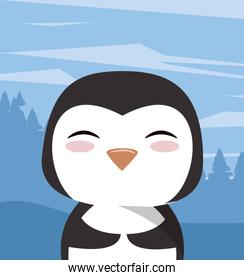 cute little penguin character icon