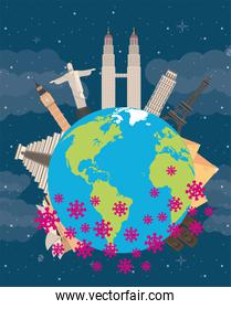 covid19 pandemic particles with earth planet and countries monuments