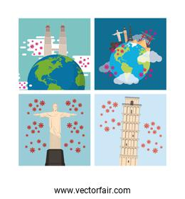 covid19 pandemic particles with countries monuments