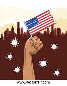 covid19 pandemic particles with hand lifting usa flag