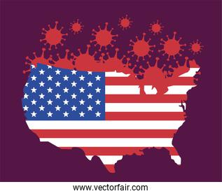 covid19 pandemic particles with usa flag and map