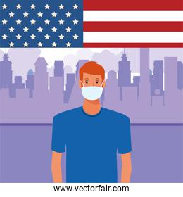 man using face mask with usa flag