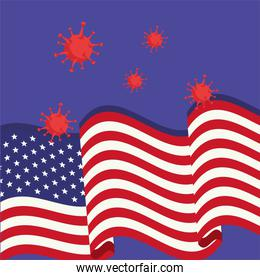covid19 pandemic particles with usa flag
