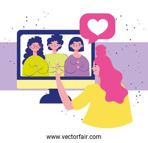 people talking meeting online, characters cartoon virtual