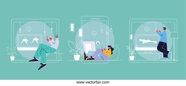 people connected online at home by different electronic means