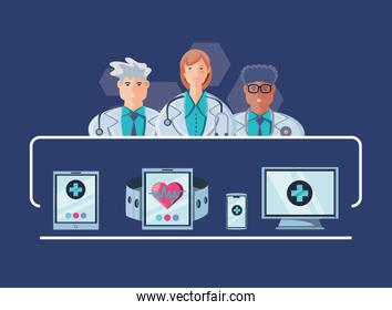 poster with online healthcare and technology