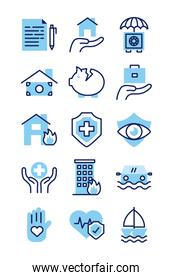 bundle of insurance set icons
