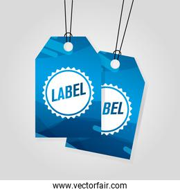 blue comercial tags hanging with vibrant color