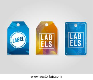 comercial tags hanging with vibrant color