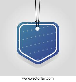 comercial tag with blue vibrant color