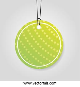 comercial tag with green vibrant color