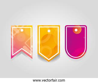 comercial tags with vibrant colors