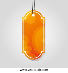 orange comercial tag with vibrant color