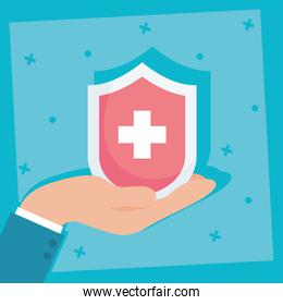 health insurance service with shield