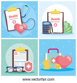 health insurance service with checklist orders and icons