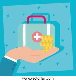 health insurance service with medical kit