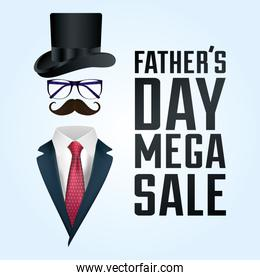 happy fathers day card with gentleman suit and accessories