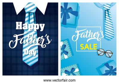 happy fathers day card with elegant suit and gifts