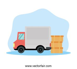 truck with boxes delivery service