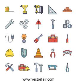 Construction fill style icon set vector design