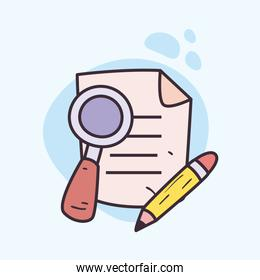 Document paper lupe and pencil vector design