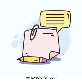Pencil paper note with clip and bubble vector design