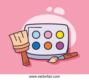 Isolated paint palette and brushes vector design