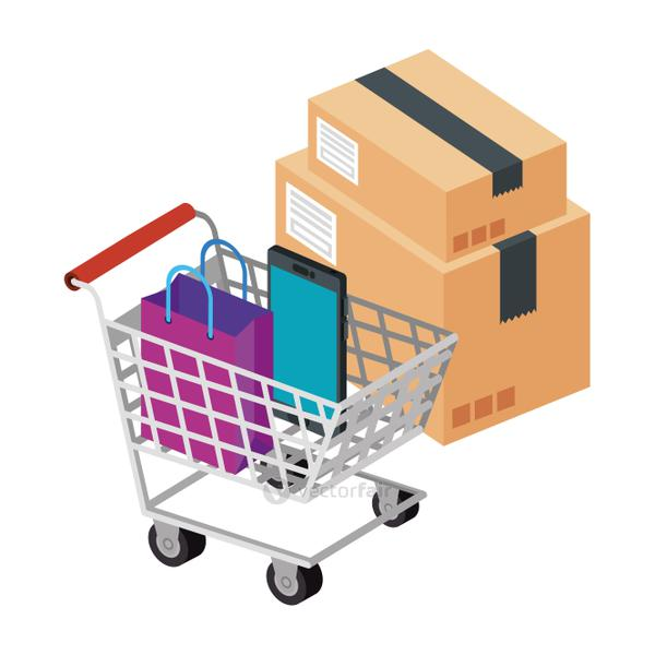 box package with cart shopping and icons