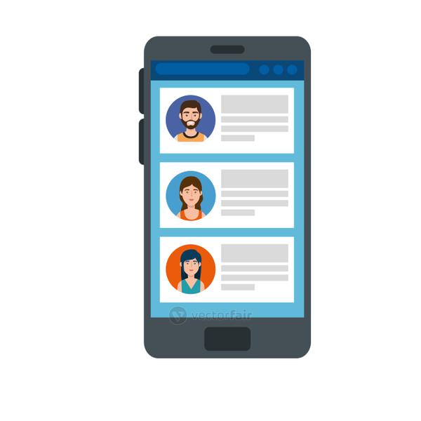 smartphone device with chat isolated icon