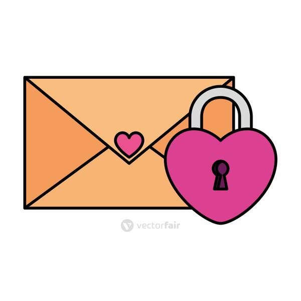 envelope mail with padlock in shape heart