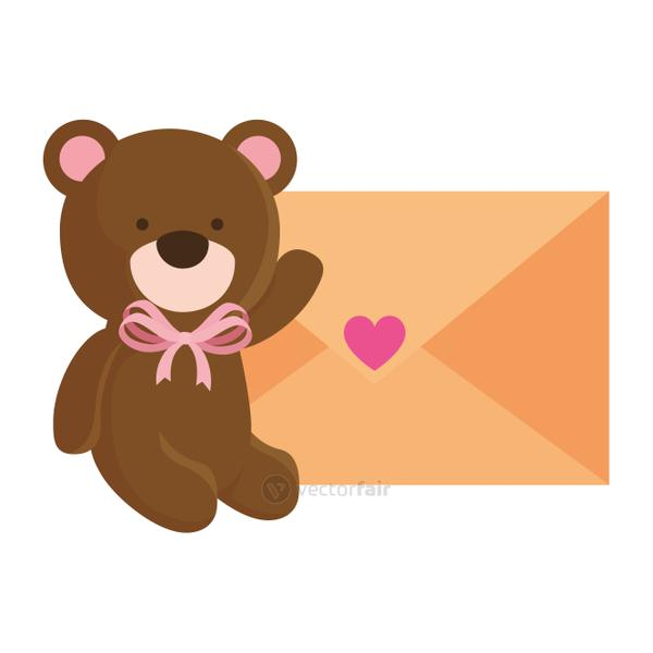 cute teddy bear with envelope isolated icon
