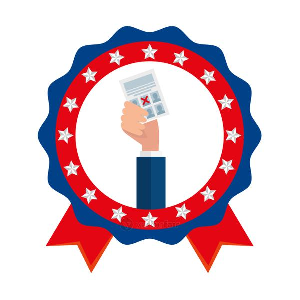 Hand holding usa vote paper vector design
