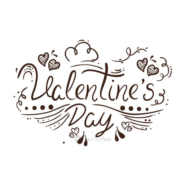 valentines day lettering with decoration