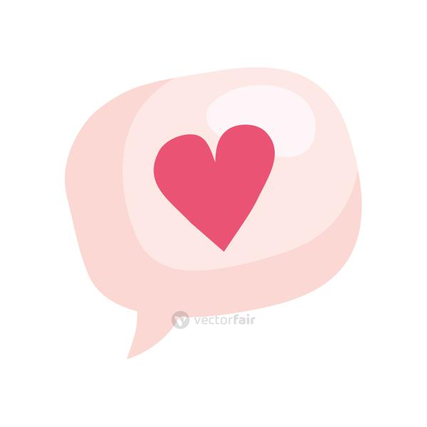 cute heart in speech bubble isolated icon