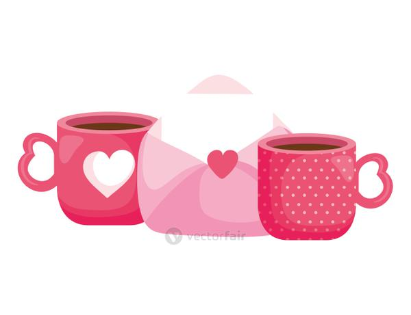 envelope mail with heart and cups coffee