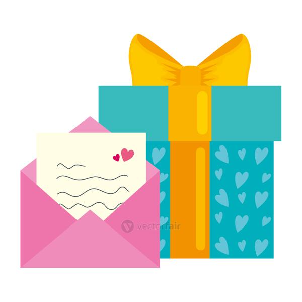 envelope mail with gift box isolated icon