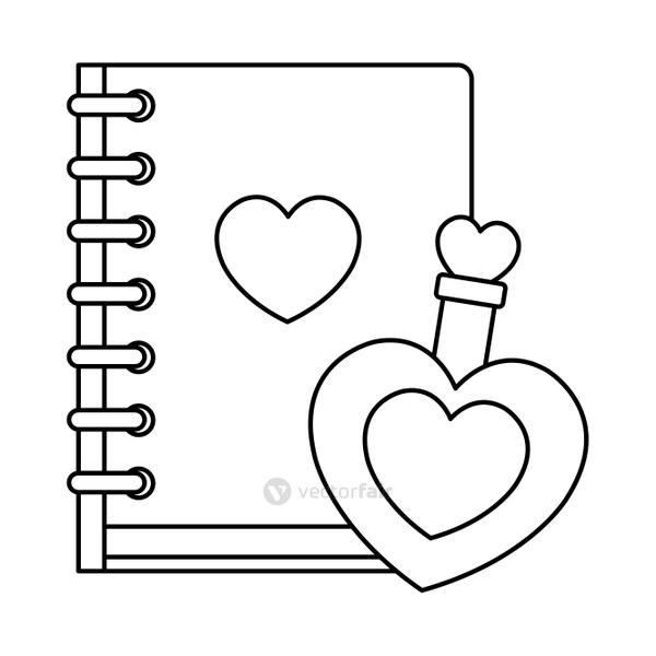 fragrance with heart bottle and notebook