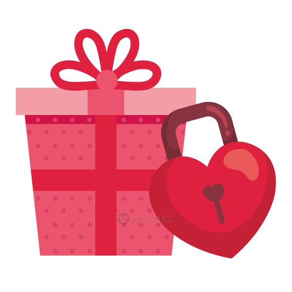 gift box with padlock in shape heart isolated icon