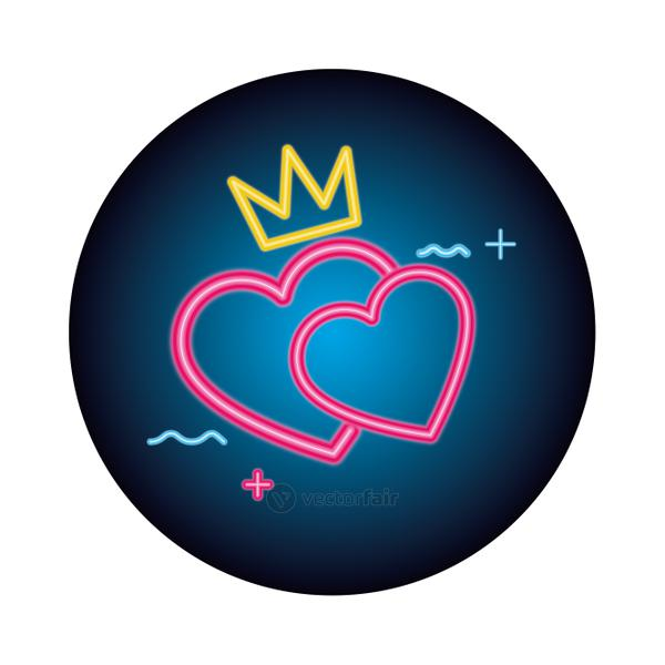 cute hearts love neon light isolated icon