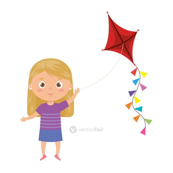 cute little girl with kite isolated icon