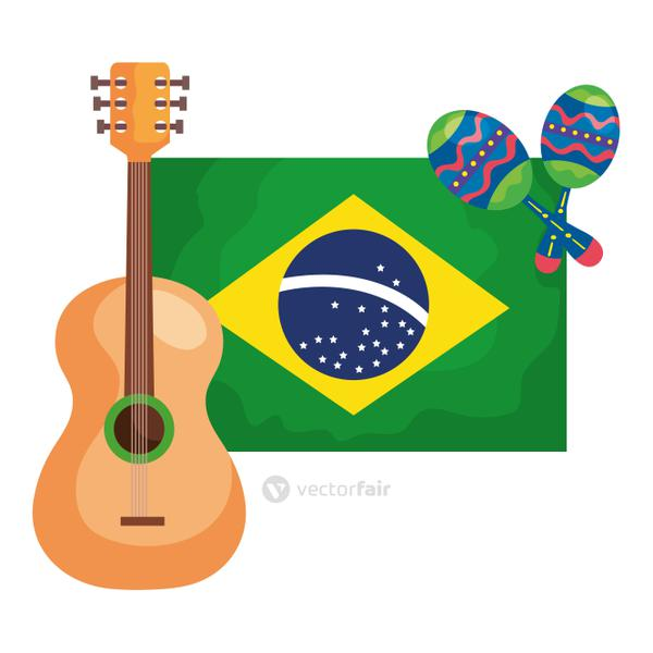 guitar and maracas with flag brazil isolated icon