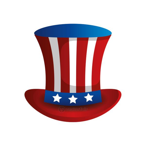 top hat traditional of usa isolated icon